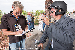 Bill Page of Kansas with his single-cylinder 1915 Harley-Davidson class-2 motorcyle at the finish line in Page during the Motorcycle Cannonball Race of the Century. Stage-11 ride from Durango, CO to Page, AZ. USA. Wednesday September 21, 2016. Photography ©2016 Michael Lichter.