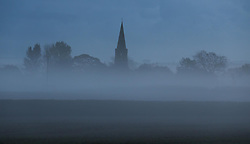 © Licensed to London News Pictures. 11/10/2014. Somerset, UK East Lydford church in Central Somerset shrouded in the fog today 11 October 2014. Photo credit : Jason Bryant/LNP