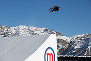 Great British freestyle skier Mike Rowlands at the GB Park & Pipe brand new winter training facility in Mottolino Snow Park on 7th December 2017 in Livingo, Italy. The Big Air Bag is the first of its kind and has been developed by the GB Park & Pipe's Hamish McKnight and Lesley McKenna. The air bag was built by BigAirBag company from Holland.