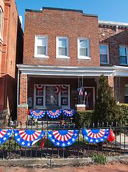 House decorated with Barack Obama signage during Inauguration, Washington D.C., USA.