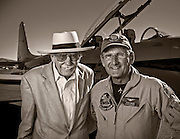 Pace-plane pilots Bob Hoover and Steve Hinton.  Created on the ramp during the 2012 Reno Air Races, Reno-Stead Airfield, Reno, Nevada.  <br />