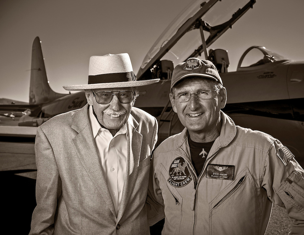 Pace-plane pilots Bob Hoover and Steve Hinton.  Created on the ramp during the 2012 Reno Air Races, Reno-Stead Airfield, Reno, Nevada.  <br /> <br /> Created by aviation photographer John Slemp of Aerographs Aviation Photography. Clients include Goodyear Aviation Tires, Phillips 66 Aviation Fuels, Smithsonian Air & Space magazine, and The Lindbergh Foundation.  Specialising in high end commercial aviation photography and the supply of aviation stock photography for advertising, corporate, and editorial use.