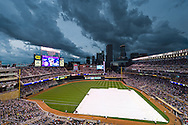 [Note:  This photo is an HDR image made up of 5 exposures that were combined in post-processing.]  Storm clouds brew over Target Field before a game between the Minnesota Twins and Milwaukee Brewers on July 1, 2011 in Minneapolis, Minnesota.  The game was delayed for 2 hours until the storm passed.