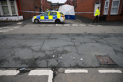 © Licensed to London News Pictures. 09/08/2021. Gorton, UK. Two men aged 25 and 28 have been arrested for attempted murder as police close a road in East Manchester and pitch a forensic tent . Greater Manchester Police say they were called to Woodland Road in Gorton at 10.20pm on Sunday night (8th August 2021) to reports that a man had been seriously injured . A 63 year old man had been struck by a car and remains in hospital in a serious condition . Photo credit: Joel Goodman/LNP