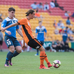 BRISBANE, AUSTRALIA - MARCH 25: Aaron Reardon of the Roar passes the ball during the round 5 NPL Queensland match between the Brisbane Roar and SWQ Thunder at Suncorp Stadium on March 25, 2017 in Brisbane, Australia. (Photo by Patrick Kearney/Brisbane Roar)