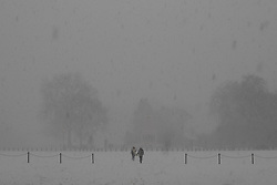 A pair of people cross Horseguards Parade as a snow flurry hits Westminster. Westminster, London, February 27 2018.