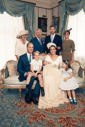 For first publication 22.30 hours BST on Sunday July 15th 2018:<br /> OFFICIAL PORTRAIT OF THE CHRISTENING OF PRINCE LOUIS. OBLIGATORY CREDIT LINE: PHOTO MATT HOLYOAK/CAMERA PRESS.         <br /> Official portrait taken in the Morning Room at Clarence House, following the christening of Prince Louis at St James's Chapel.<br /> Seated (left to right): The Duke of Cambridge, Prince George, Prince Louis, The Duchess of Cambridge, Princess Charlotte.<br /> Standing (left to right): The Duchess of Cornwall, The Prince of Wales, The Duke of Sussex, The Duchess of Sussex.<br /> THIS PHOTOGRAPH IS PROVIDED FOR FREE NEWS USAGE IN CONNECTION WITH PRINCE LOUIS'S CHRISTENING UNTIL JULY 29TH 2018 . AFTER WHICH IT MUST BE REMOVED FROM ALL YOUR SYSTEMS. USAGE RIGHTS ARE STRICTLY EDITORIAL NEWS ONLY, NO COMMERCIAL, SOUVENIR OR PROMOTIONAL USE PERMITTED. MAGAZINE COVER USAGES REQUIRE APPROVAL. THE PHOTOGRAPH CANNOT BE CROPPED, MANIPULATED OR ALTERED IN ANY WAY.