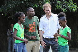 Prince Harry speaks to volunteers during a visit to 'Nature Fun Ranch', which allows young people to speak freely with one another about important topics, including HIV/AIDS, providing them with a positive focus to guide their lives in the right direction, during his tour of the Caribbean.