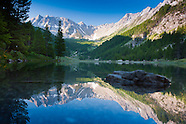 Camping between the mountains in the valleys of the French Alps