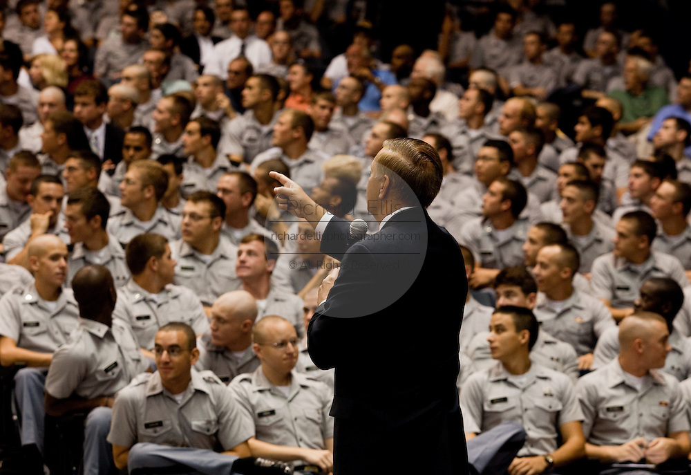 Sen. Lindsay Graham (R-SC) calls on a member of the public during a health care town hall meeting September 14, 2009 at the Citadel in Charleston, SC.