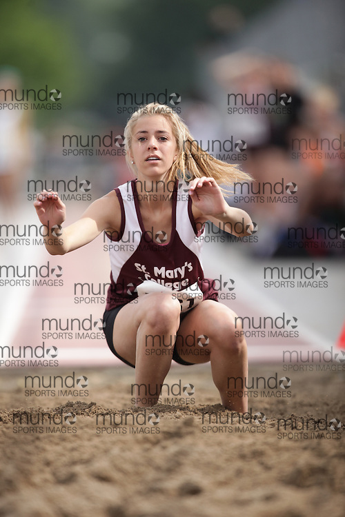 (London, Ontario}---04 June 2010) Jenna Gallagher of St. Mary's College  - SS Marie competing in the junior girls long jump at the 2010 OFSAA Ontario High School Track and Field Championships. Photograph copyright Geoff Robins / Mundo Sport Images, 2010.
