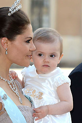 Crown Princess Victoria of Sweden, Princess Estelle of Sweden attend the wedding of Princess Madeleine of Sweden and Christopher O'Neill hosted by King Carl Gustaf XIV and Queen Silvia at The Royal Palace in Stockholm, Sweden, June 8, 2013 . Photo by Schneider-Press / i-Images. .UK & USA ONLY