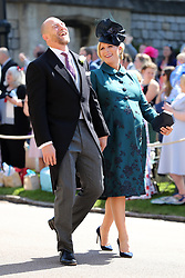 MIke Tindall and Zara Tindall arrive at St George's Chapel at Windsor Castle for the wedding of Meghan Markle and Prince Harry.