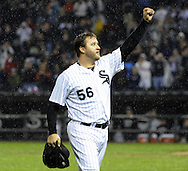 CHICAGO - SEPTEMBER 27:  Mark Buehrle #56 of the Chicago White Sox acknowledges the crowd after being removed from the game in the eighth inning during the game against the Toronto Blue Jays on September 27, 2011 at U.S. Cellular Field in Chicago, Illinois.  Buehrle's appearance could be his last in a White Sox uniform. The White Sox defeated the Blue Jays 2-1.  (Photo by Ron Vesely)   Subject: Mark Buehrle.