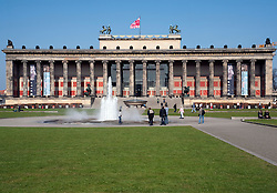 Exterior view of colonade at Altes Museum on Museuminsel in Berlin Germany 2009