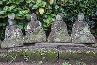 Jizo at Anyo-in Kamakura - Gionzan Anyi-in Choraku-ji is a Pure Land Jodo sect Buddhist temple in Kamakura famous for its azalea, dedicated to Minamoto no Yoritomo and found by his wife Hojo Masako. The main object of worship enshrines Kannon Goddess of Mercy.  Anyo-in has a complex history - the result of the fusion of three separate temples called Choraku-ji, Zendo-ji and Tashiro-ji.  there is a huge pine tree in the garden that is more than 700 years old.