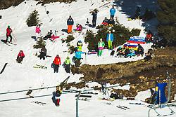 Spectators during parallel giant slalom FIS Snowboard Alpine world championships 2021 on 1st of March 2021 on Rogla, Slovenia, Slovenia. Photo by Grega Valancic / Sportida