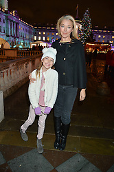 TAMARA BECKWITH and her daughter VIOLET at Skate At Somerset House with Fortnum & Mason on 16th November 2016.
