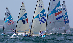 03.08.2012, Bucht von Weymouth, GBR, Olympia 2012, Segeln, im Bild Postma Pieter-Jan, (NED, Finn).Mitakis Ioannis, (GRE, Finn) // during Sailing, at the 2012 Summer Olympics at Bay of Weymouth, United Kingdom on 2012/08/03. EXPA Pictures © 2012, PhotoCredit: EXPA/ Daniel Forster ***** ATTENTION for AUT, CRO, GER, FIN, NOR, NED, POL, SLO and SWE ONLY!