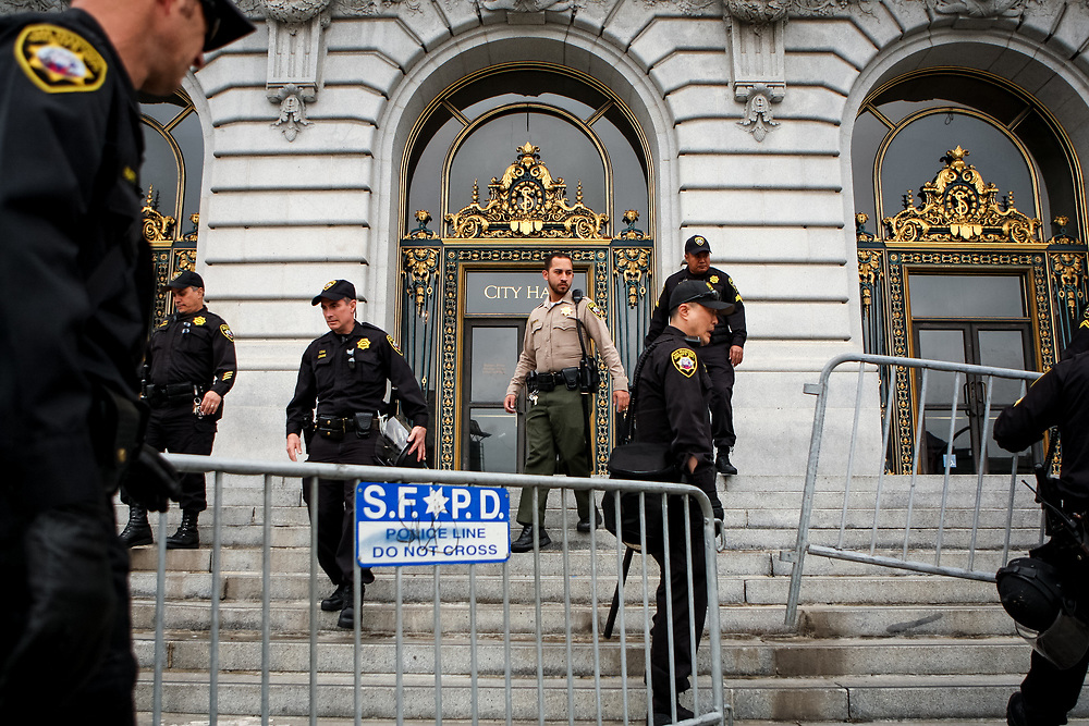 Deputy sheriffs place barricades outside City Hall just days after protestors occupied the building in San Francisco, Calif., Monday, May 9, 2016.<br /> <br /> The occupation of City Hall demanding the resignation of SFPD Police Chief Greg Suhr resulted in damage to the building and the arrest of 33 protestors.