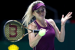 October 27, 2018 - Singapore - Elina Svitolina of the Ukraine returns a shot during the semi final match between Elina Svitolina and Kiki Bertens on day 7 of the WTA Finals at the Singapore Indoor Stadium. (Credit Image: © Paul Miller/ZUMA Wire)
