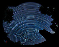 Summer Star Trails.  Looking North. Composite of 134 images taken with a Nikon D800 camera and 10.5 mm f/2.8 fisheye lens (ISO 100, 10.5 mm, f/4, 120 sec). Raw images processed with Capture One Pro and Photoshop CC. Composite created with Scripts, Statistics, Maximum)