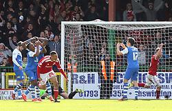 Swindon Town's Jermaine Hylton celebrates scoring his sides first goal - Photo mandatory by-line: Joe Dent/JMP - Mobile: 07966 386802 - 11/04/2015 - SPORT - Football - Swindon - County Ground - Swindon Town v Peterborough United - Sky Bet League One
