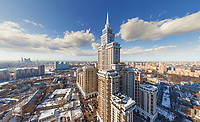Aerial view of Triumph Palace in Moscow, Russia