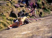 Katy Whittaker leading Telli, E3 5c, Stanage, Peak District