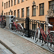 Bicycles in Gamla Stan (Old Town) in Stockholm, Sweden