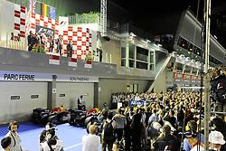 25.09.2011, Marina-Bay-Street-Circuit, Singapur, SIN, F1, Grosser Preis von Singapur, Singapur, im Bild Podium -  Jenson Button (GBR),  McLaren F1 Team  - Sebastian Vettel (GER), Red Bull Racing - Mark Webber (AUS), Red Bull Racing // during the Formula One Championships 2011 Large price of Singapore held at the Marina-Bay-Street-Circuit Singapur, 2011-09-24  EXPA Pictures © 2011, PhotoCredit: EXPA/ nph/  Dieter Mathis       ****** out of GER / CRO  / BEL ******