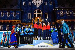 March 16, 2019 - –Stersund, Sweden - 190316 Hanna Öberg, Linn Persson, Mona Brorsson, Anna Magnusson of Sweden, Synnøve Solemdal, Ingrid Landmark Tandrevold, Tiril Eckhoff, Marte Olsbu Røiseland of Norway and Anastasiya Merkushyna, Vita Semerenko, Yuliia Dzhima and Valj Semerenko of Ukraine celebrate during the medal ceremony for the Women's 4x6 km Relay during the IBU World Championships Biathlon on March 16, 2019 in Östersund..Photo: Petter Arvidson / BILDBYRÃ…N / kod PA / 92270 (Credit Image: © Petter Arvidson/Bildbyran via ZUMA Press)