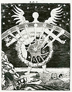 'Four elements, earth, air, fire, water, and seven planets with their associated humours. Image symbolises natural magic and sympathy of like for like.  From ''Magia naturalis', Nuremberg, 1715, by Johannis Baptista della Porta. First edition 1558.'