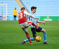 Coventry City's Ruben Lameiras vies for possession with Fleetwood Town's David Ball<br /> <br /> Photographer Andrew Vaughan/CameraSport<br /> <br /> Football - The Football League Sky Bet League One - Coventry City v Fleetwood Town - Saturday 27th February 2016 - Ricoh Stadium - Coventry   <br /> <br /> © CameraSport - 43 Linden Ave. Countesthorpe. Leicester. England. LE8 5PG - Tel: +44 (0) 116 277 4147 - admin@camerasport.com - www.camerasport.com