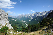 View down the Valbone river valley from the Valbone pass. Valbone, Albania 04Sep15