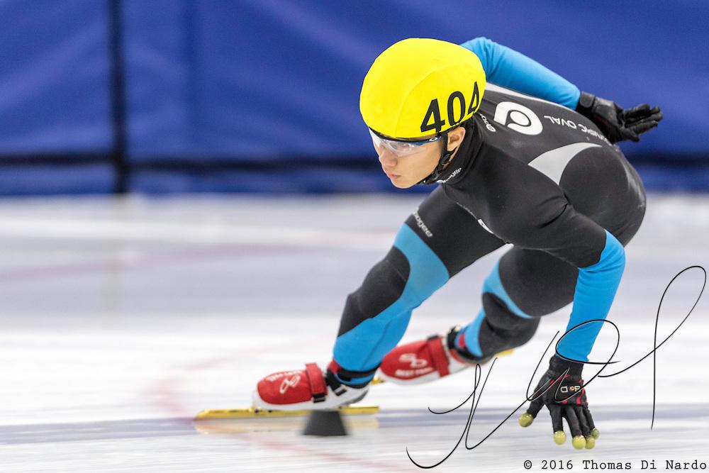 December 17, 2016 - Kearns, UT - Arthur Cheung skates during US Speedskating Short Track Junior Nationals and Winter Challenge Short Track Speed Skating competition at the Utah Olympic Oval.