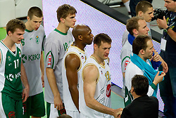 Zoran Dragic of Krka, Kenny Gregory, Goran Jagodnik of Union Olimpija, Zoran Jankovic,  Samo Udrih of Olimpija after the second semi-final match of Basketball NLB League at Final four tournament between KK Union Olimpija and Krka (SLO), on April 19, 2011 in Arena Stozice, Ljubljana, Slovenia. Union Olimpija defeated Krka 67-57. (Photo By Vid Ponikvar / Sportida.com)