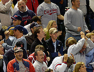 MORNING JOURNAL/DAVID RICHARD<br />Fans at Jacobs Field react after Cleveland's Casey Blake narrowly missed hitting a grand slam Tuesday night against Tampa Bay.