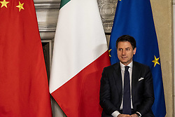 """March 23, 2019 - Roma, Roma, Italy - Giuseppe Conte, Prime Minister of Italy, met the president of the People's Republic of China, Xi Jinping, at Villa Madama palace in Roma. .Prime Minister Giuseppe Conte sign a memorandum of understanding with Xi Jinping  for Italy to join the US$1 trillion Belt and Road Initiative. .Italy is the first meber of G7 to sign it..Most of Rome's historic center will be considered a ''red zone,'' a tightly secured area with limited access for the city's residents, to allow the movement of the Chinese delegation accompanying the President..Salvini has said Italy would be ''no-one's colony'' and urged caution about using telecom giant Huawei's next generation 5G mobile technology, while coalition partner Luigi Di Maio is keener for Chinese partnerships..Salvini has said Italy would be ''no-one's colony'' and urged caution about using telecom giant Huawei's next generation 5G mobile technology, while coalition partner Luigi Di Maio is keener for Chinese partnerships..Salvini has said Italy wuold be """"no-one's colony"""" and urged caution about using telecom gian Huawei's next generation 5G mobile technology, while coalition Luigi Di Maio is keener for Chinese parterships. (Credit Image: © Matteo Trevisan/ZUMA Wire)"""