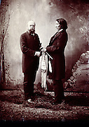 Portrait of O.C. Marsh, founder of the Yale Peabody Museum with Sitting Bull.