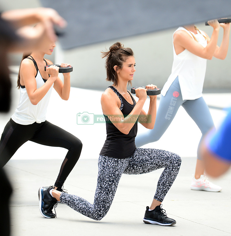 EXCLUSIVE: Nina Dobrev shows off her impressive body pump moves during a video shoot for the new Reebok fitness clothing line. 28 Jun 2017 Pictured: Nina Dobrev. Photo credit: MEGA TheMegaAgency.com +1 888 505 6342