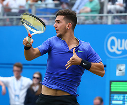 June 22, 2017 - London, United Kingdom - Thanasi Kokkinakis (AUS) against Daniil Medvedev (RUS) during Men's Singles Round Two match on the fourth day of the ATP Aegon Championships at the Queen's Club in west London on June 22, 2017  (Credit Image: © Kieran Galvin/NurPhoto via ZUMA Press)