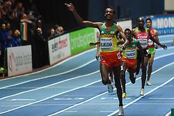 March 4, 2018 - Birmingham, England, United Kingdom - Yomif Kejelcha ofEthiopia wins 3000 meters  at World indoor Athletics Championship 2018, Birmingham, England on March 4, 2018. (Credit Image: © Ulrik Pedersen/NurPhoto via ZUMA Press)