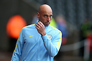 Manchester city goalkeeper Willy Caballero arrives ahead of the game.  EFL Cup. 3rd round match, Swansea city v Manchester city at the Liberty Stadium in Swansea, South Wales on Wednesday 21st September 2016.<br /> pic by  Andrew Orchard, Andrew Orchard sports photography.