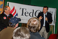 Former US Senator Bob Smith with Republican Presidential candidate Ted Cruz as he speaks to the crowd gathered at the D.A. Long Tavern at Funspot on Saturday afternoon.  (Karen Bobotas/for the Laconia Daily Sun)