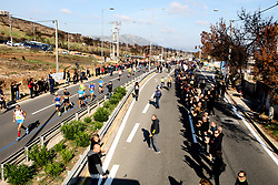 November 11, 2018 - Athens, Greece - Spectators cheer participants as they past Mati village, where 99 people died in a forest fire last summer, during the 2018 Athens Marathon. (Credit Image: © Aristidis VafeiadakisZUMA Wire)