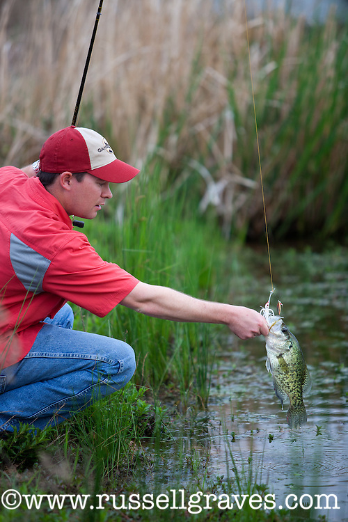 ANGLER IN A FARM POND CATCHING A CRAPPIE ON A BAITCASTING RIG AFTER CATCHING IT WITH A WHITE SPINNERBAIT