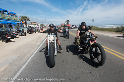 Brad Gregory (R) of Glenwood, IA on his custom Sportster with Frank Hilton of Tampa, FL on a custom Evo from Blings Cycles on A1A south of Flagler Beach during Daytona Beach Bike Week 2015. FL, USA. March 13, 2015.  Photography ©2015 Michael Lichter.