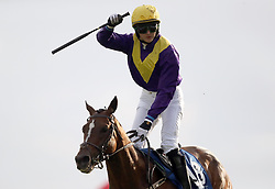 Whiskey Sour ridden by Aubrey McMahon celebrates winning the Connacht Hotel Handicap during day one of the Galway Summer Festival at Galway Races, Ballybrit Galway.
