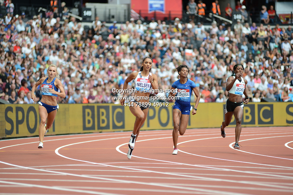 Laviai Nielsen and Shericka Jackson compete in the 400m during the IAAF Diamond League at the Queen Elizabeth Olympic Park London, England on 20 July 2019.